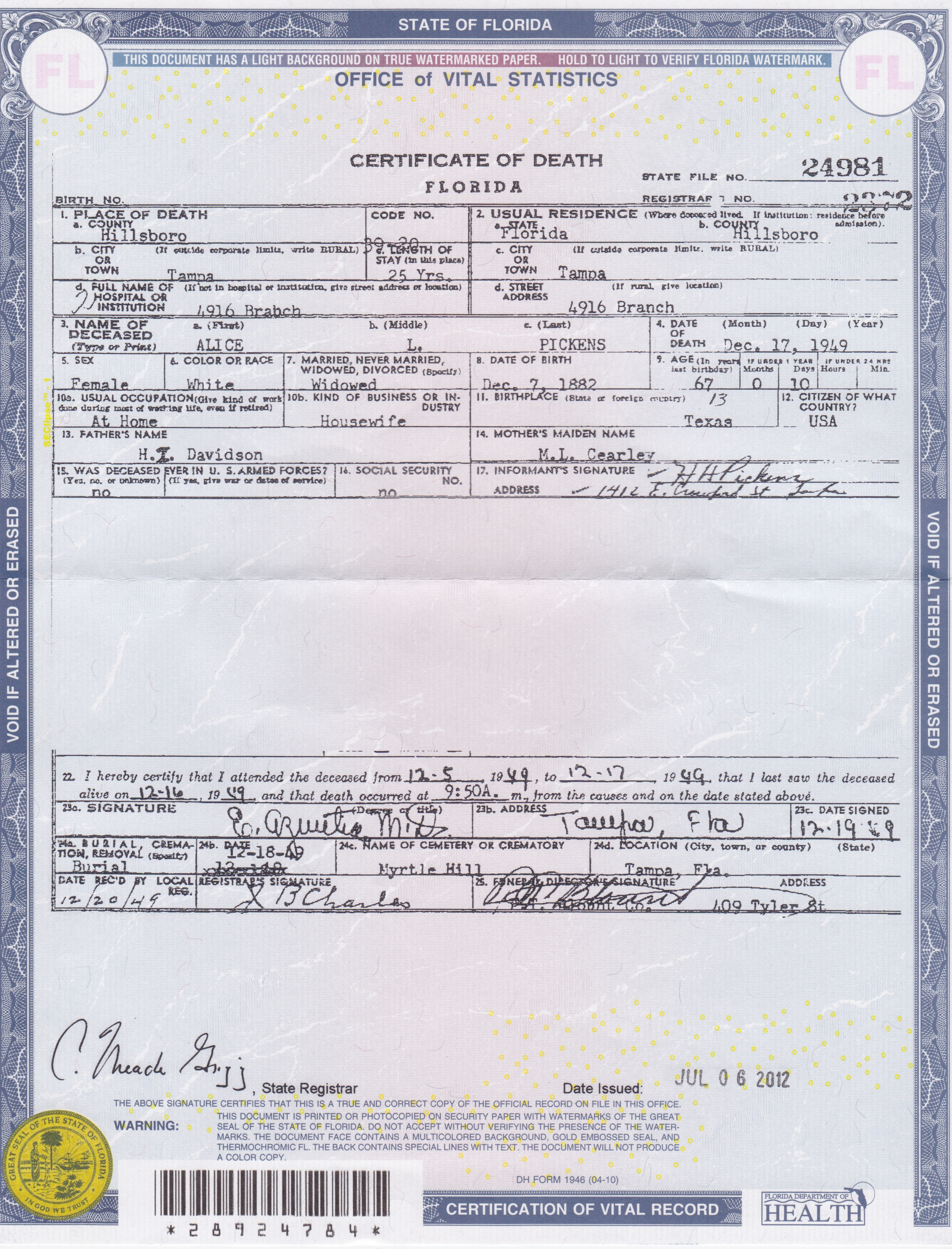 Death certificate fannies your aunt alice lindell davidson pickens xflitez Images