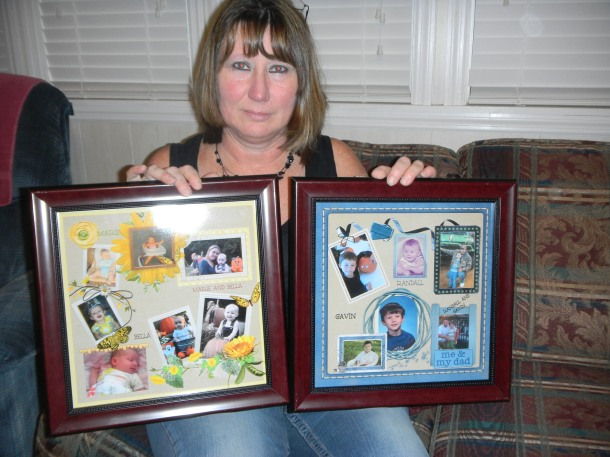 Sister Chris with her framed 12x12 scrap pages