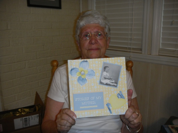 Mom with her book